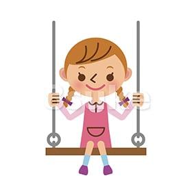 イラスト素材:ブランコで遊ぶ女の子(ベクター・JPG)