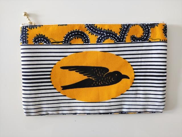 アフリカンファブリック ペタンコポーチ ツバメ