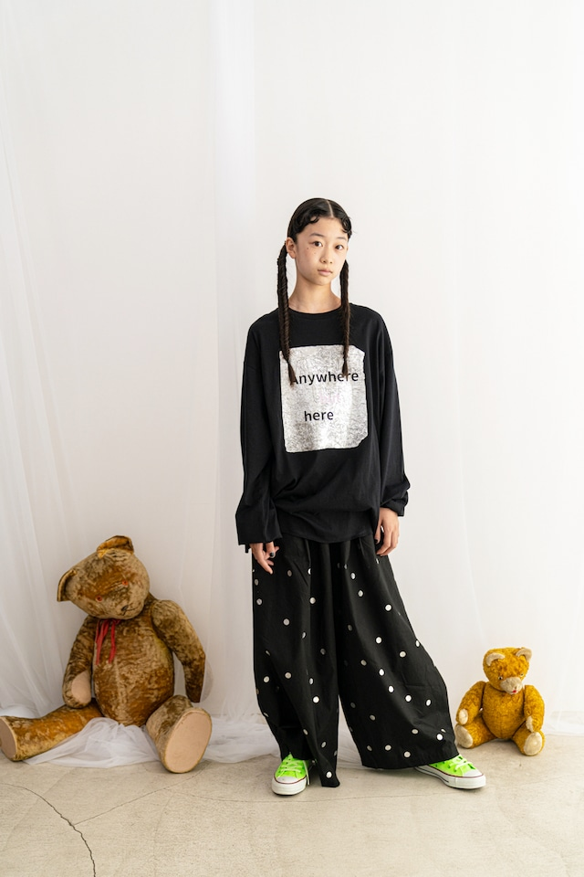 【21AW】フランキーグロウ ( frankygrow )CRUMPLE FOIL L/S TEE[ S / M / L ]black トップス ロンT