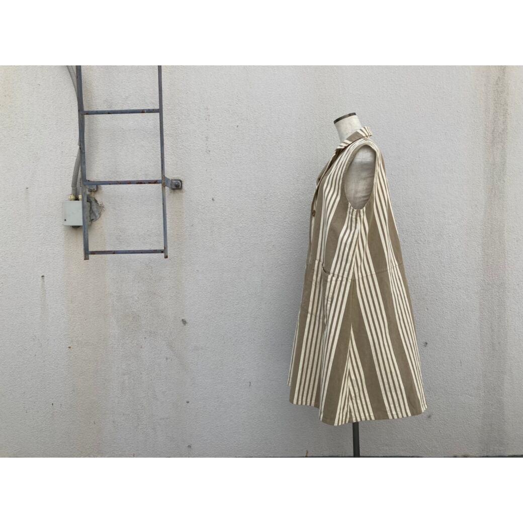 【sandglass】 Italy stripe long vest / 【サンドグラス】イタリー ストライプ ロング ベスト(1点限定)