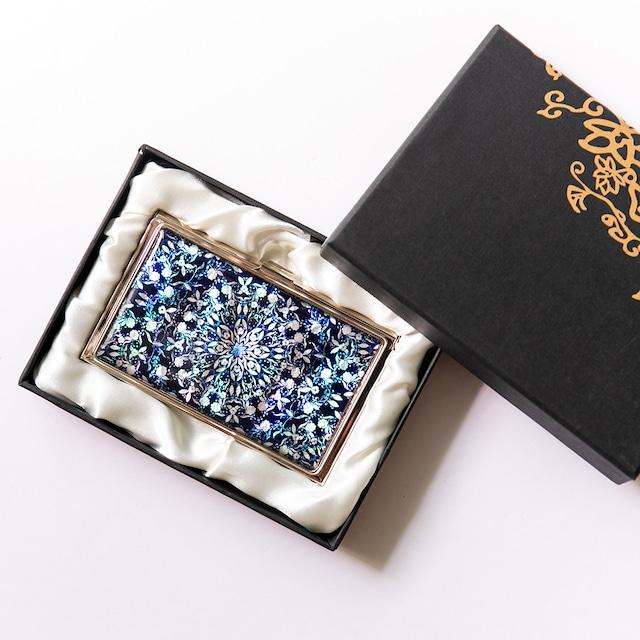 天然貝 名刺カードケース(フラワーファンタジー・ディープ)シェル・螺鈿アート|ギフト・プレゼントにおすすめ