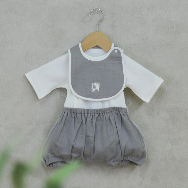出産祝い ギフトに! 可愛くて着替えやすいカバーオール ラクラクふわふわバルーンオール/スタイのセット(日本製)