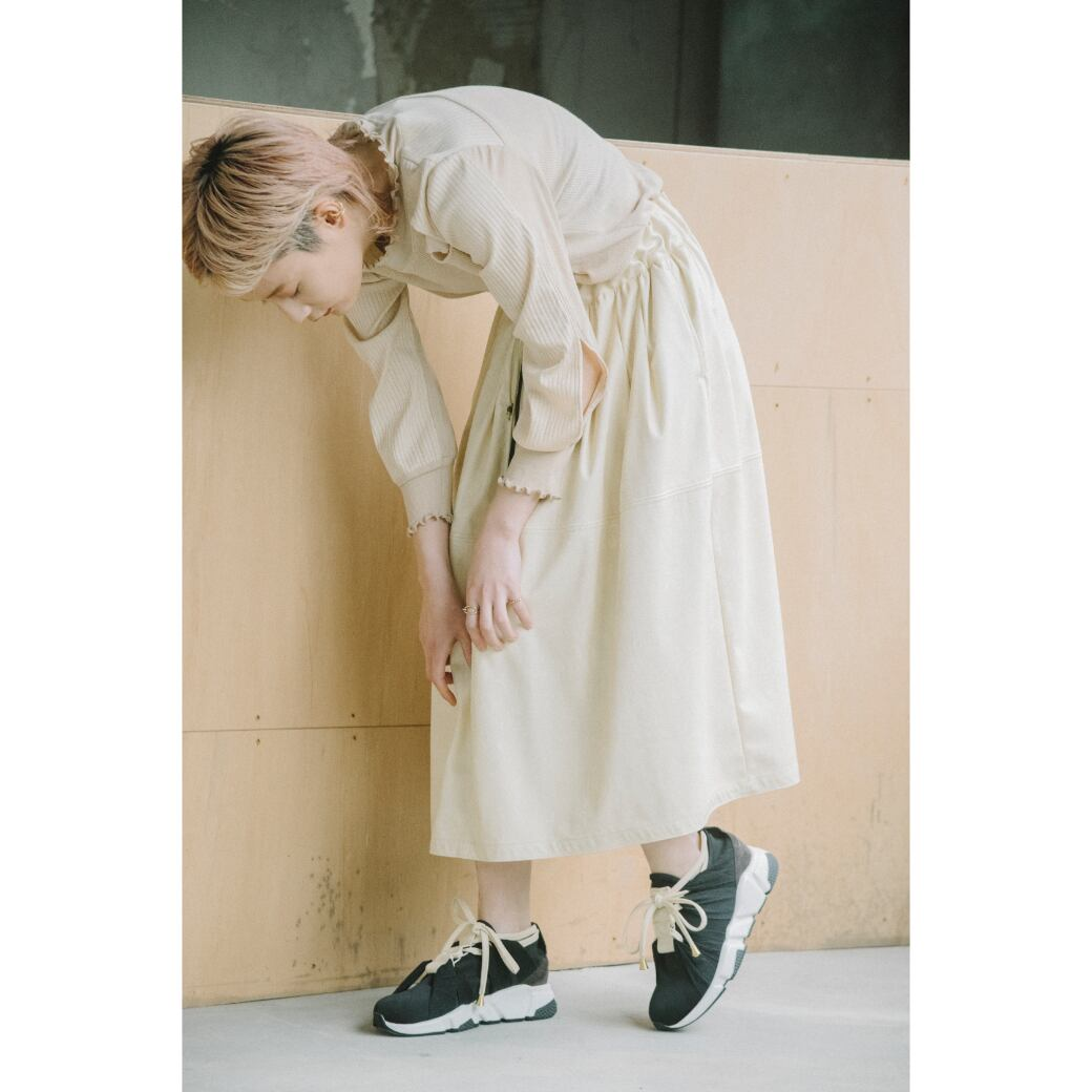 【RehersalL】fake leather skirt(ivory)/【リハーズオール】フェイクレザースカート(アイボリー)