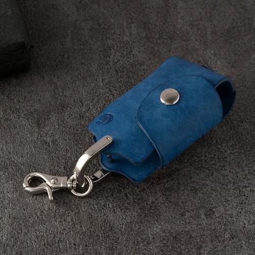 ホックキーケース スマートキー対応 | ギフト 革婚式 イタリアンレザー ネイビー