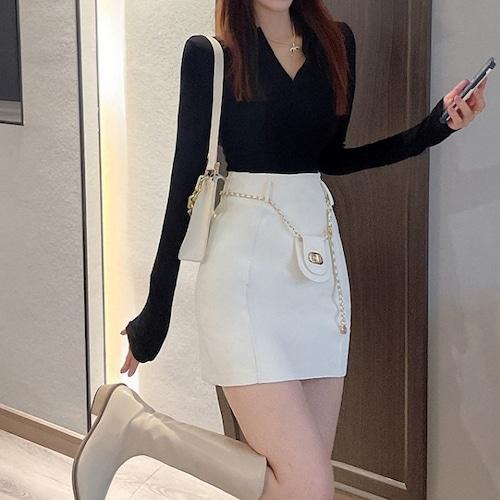 2色/デザインチェーンミニスカート ・18771