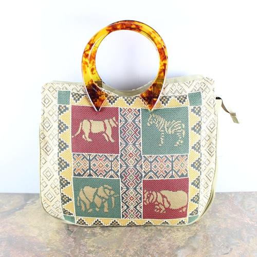 .RETRO VINTAGE ANIMAL EMBROIDERY HAND BAG/レトロヴィンテージアニマル刺繍ハンドバッグ2000000052809
