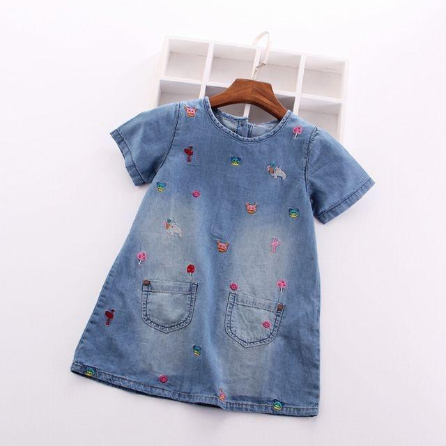 アニマル&フラワー刺繍デニム半袖ワンピース