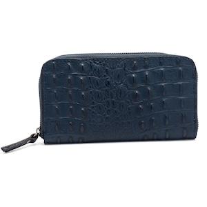 イタリア製 本革 長財布 財布 クロコダイル押し型 ネイビー