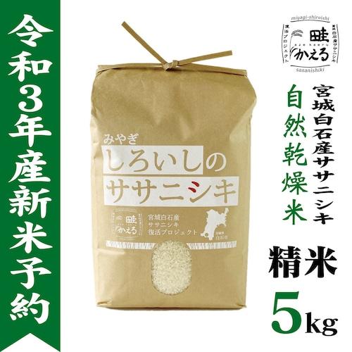 【新米】令和3年産 自然乾燥米ササニシキ精米5kg