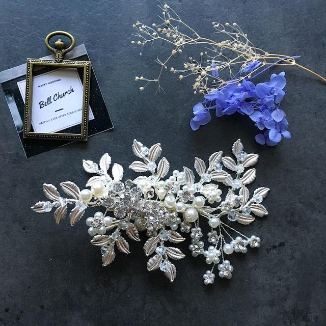 ヘッドドレス パールとラインストーン お花モチーフ シルバー  (BC-H25)|ウェディングアクセサリー