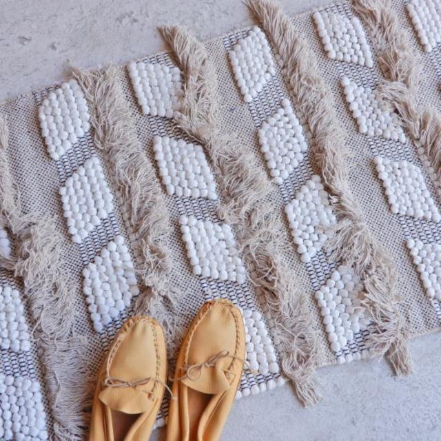 TOPANGA Homefurnishing  手織りのコットンスモールマット ラバト 60×90cm