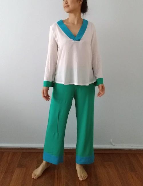 Pajama set up Aegean Sea パジャマセットアップエーゲ海