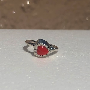 VINTAGE HEART CHARMのsnap RING body jewelry Red SILVER925 #LJ20010P ヴィンテージハートリングボディピアス・レッド/シルバー925