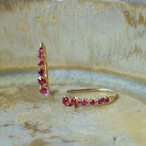 Meteor hook pierced earrings Ruby