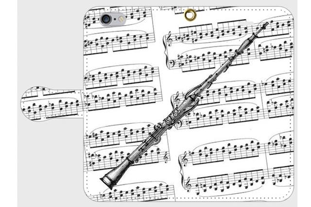 (iPhone用)オーボエの手帳型スマホケース(楽譜)