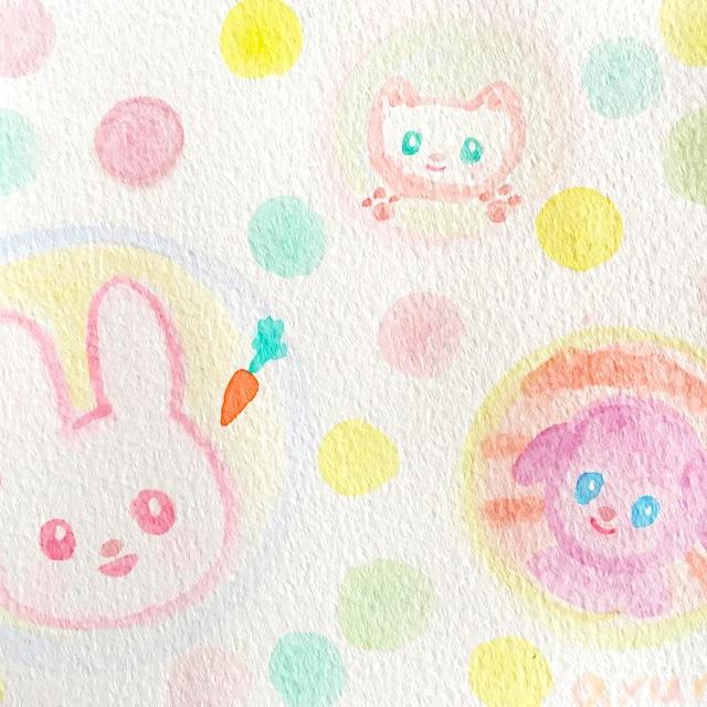 絵画 インテリア アートパネル 雑貨 壁掛け 置物 おしゃれ ロココロ 画家 : あゆみそう 作品 : ふわふわ水玉