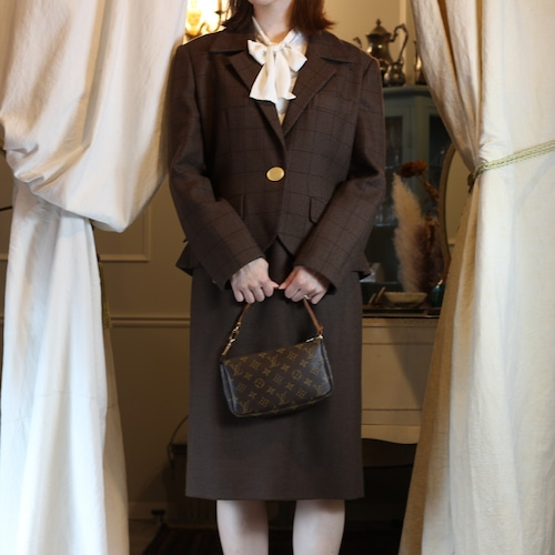 .Christian Dior CHECK PATTERNED GOLD BUTTON WOOL SET UP/クリスチャンディオールチェック柄ウールセットアップセットアップ 2000000053998