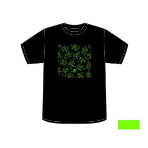 ©️くまみね ネコリパブリック広島オリジナルTシャツ<黒×蛍光グリーン>
