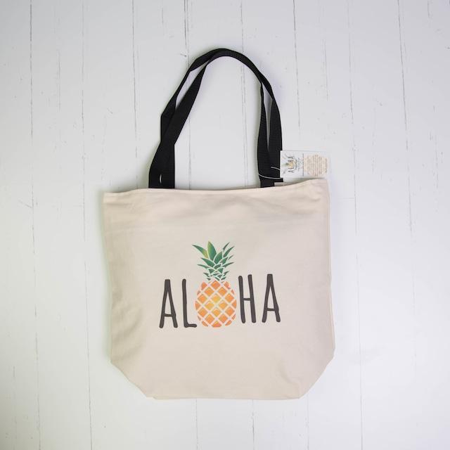 ショッピングトート(防水裏地付き)Waterproof Aloha Pineapple Caps Natural