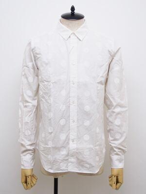 FINGER FOX AND SHIRTS (フィンガーフォックスアンドシャツ) 40/-Typewriter 500Dots Shirts / WHITE   FFS-0030-00