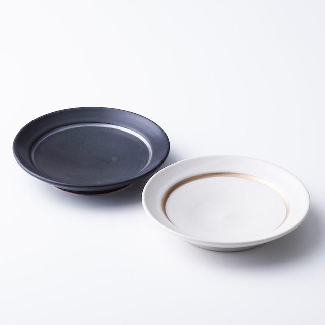 """京焼ペア小皿「マットブラック/クリーム」  Kyo-ware pair of small plates""""MatteBLACKI/Cream"""""""