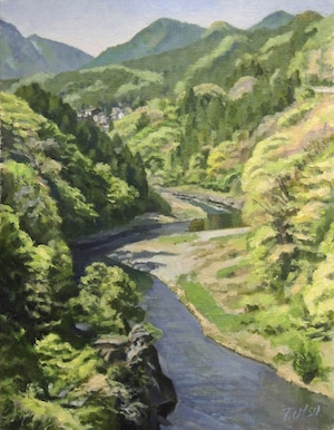 油絵#14「多摩川新緑」F6号
