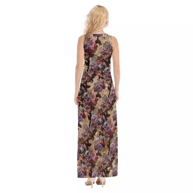 芍薬牡丹百合 ベージュ マキシタンクドレス
