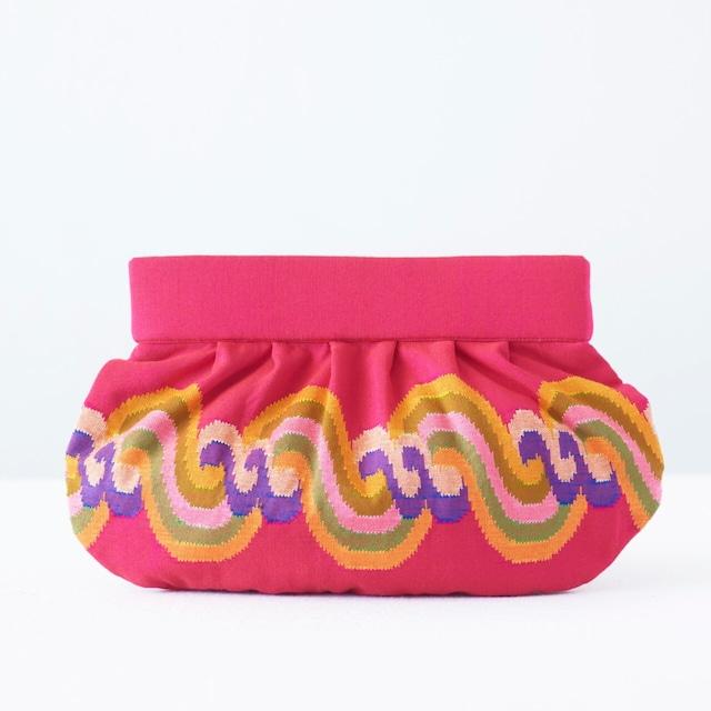 手織りクラッチL  アチェ柄  ピンク