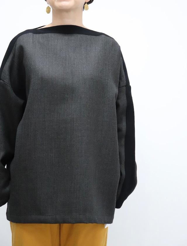 ippei takei【イッペイタケイ】rib b/n gray/black リブボートネック