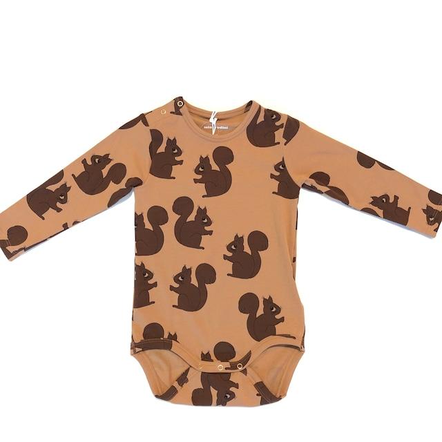 【21AW】minirodini(ミニロディーニ) Squirrel bodysuits ロンパース brown