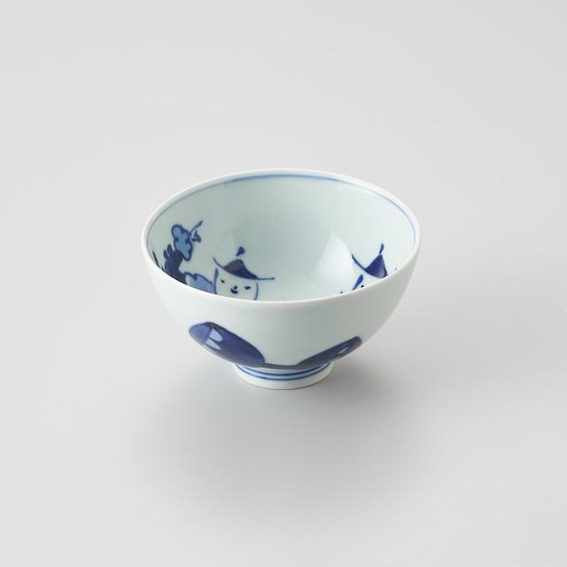 """【青花】""""オランダ万才"""" 3.8寸丸飯碗"""