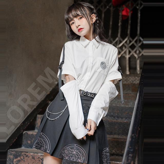 【海月社シリーズ】★セットアップ 単品注文★ シャツorミニスカート 星 袖取り外し可能 ホワイト ブラック 白い 黒い