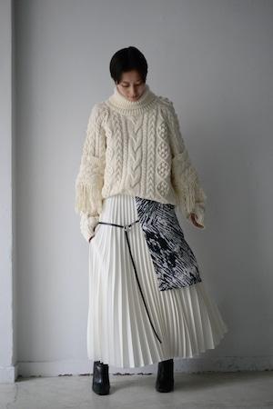 MIKAGE SHIN / Pleated Layered Skirt (ivory)