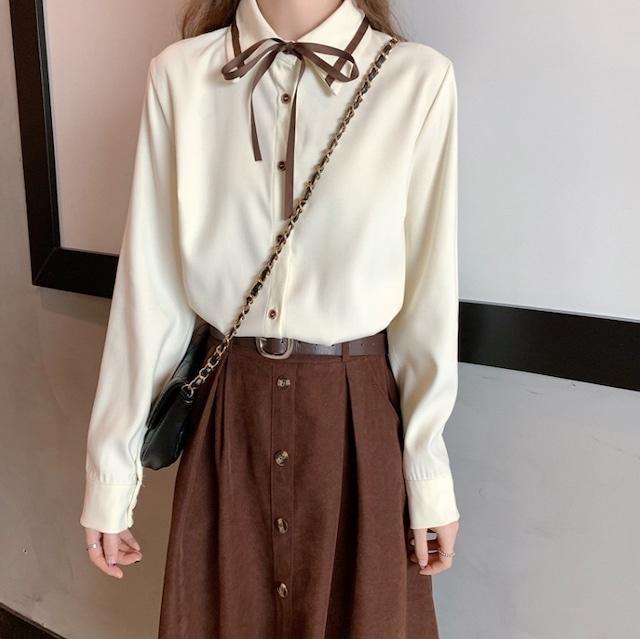 レトロガーリー♡シンプルリボンタイシャツ A0993