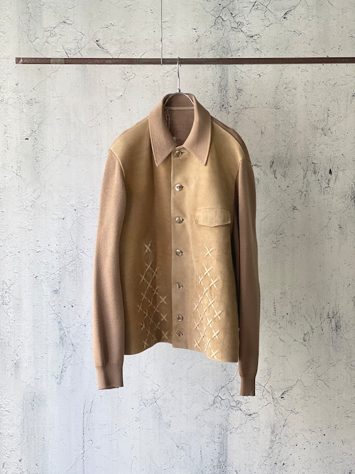 combi-leather knit jacket