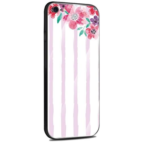 Jenny Desse iPhone XS Max ケース カバー 背面強化ガラスケース  背面ガラスフィルム シリコンハイブリッドケース 対応 sim free 対応 花とストライプ(パープル)