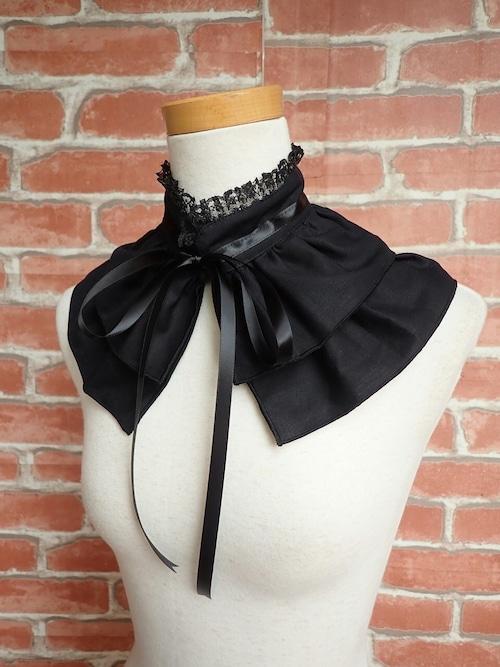 フリル付け襟 魔法使いのシンプルカラー ショート丈黒