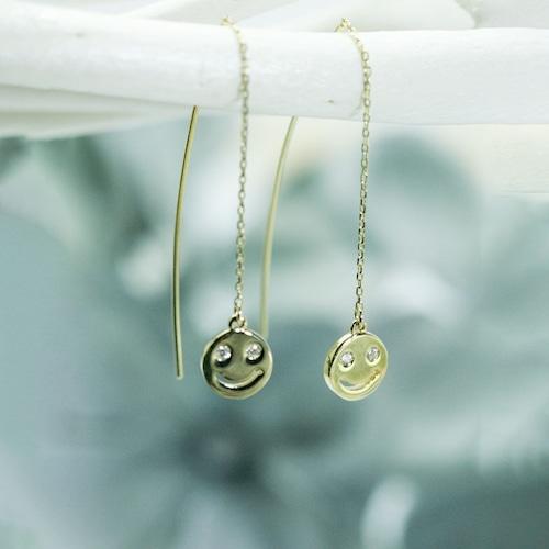 スマイルデザイン ダイヤモンド付きアメリカン ピアス K18