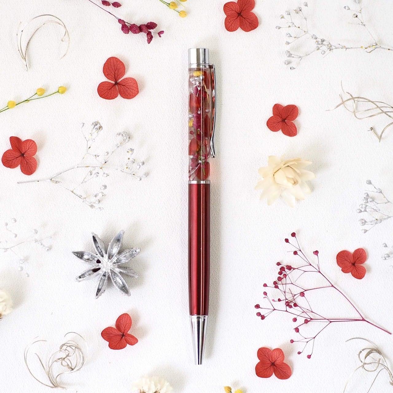 【アクリルケース付き】ハーバリウムボールペン『深紅』