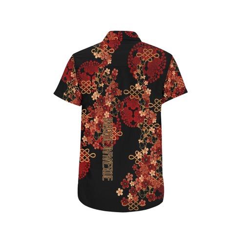 桜蝶家紋 ユニセックス半袖シャツ