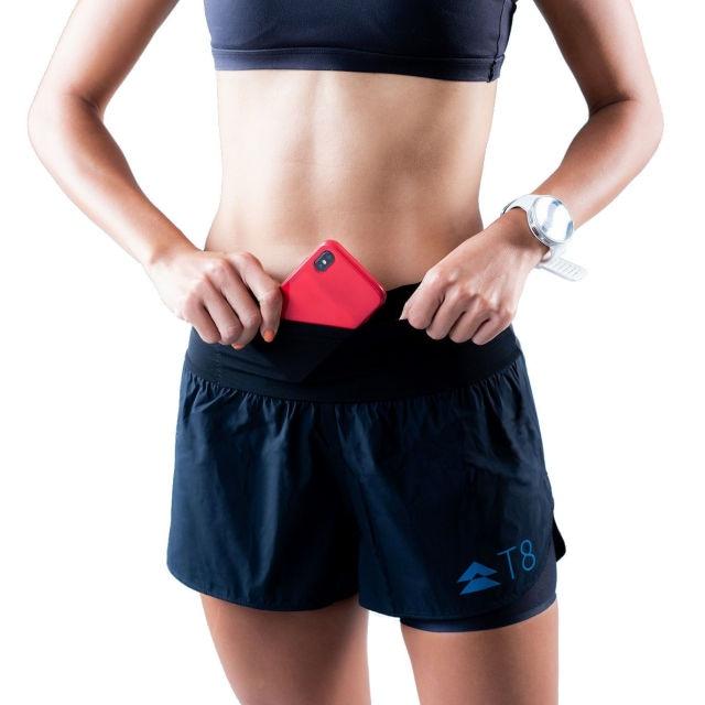 【T8】 Women's Sherpa Shorts(Black (Blue Waist Bnad))