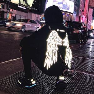 【トップス】ストリート系光反射ツバサ模様パーカー42906630