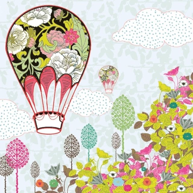【Maki】バラ売り2枚 ランチサイズ ペーパーナプキン Flowers Balloon Ride ライトブルー