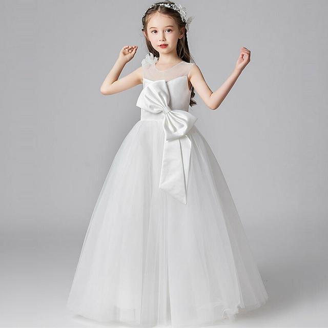 子どもドレス キッズドレス リボン飾り フォーマル用 ピアノ発表会 入園式 卒業式 子供服 ワンピース ホワイト