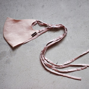 2層リネンシルクマスク ロングリボンタイプ /カラー:ピンクベージュ【bionatural】