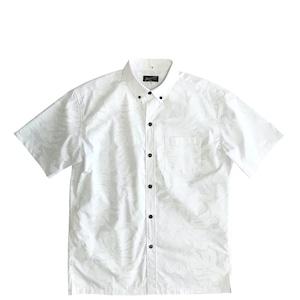 Mountain Men's ボタンダウン ホワイトアロハシャツ / ohi'a lehua