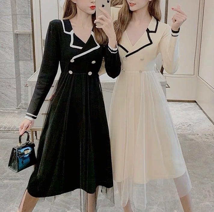 trench tulle dress 3color