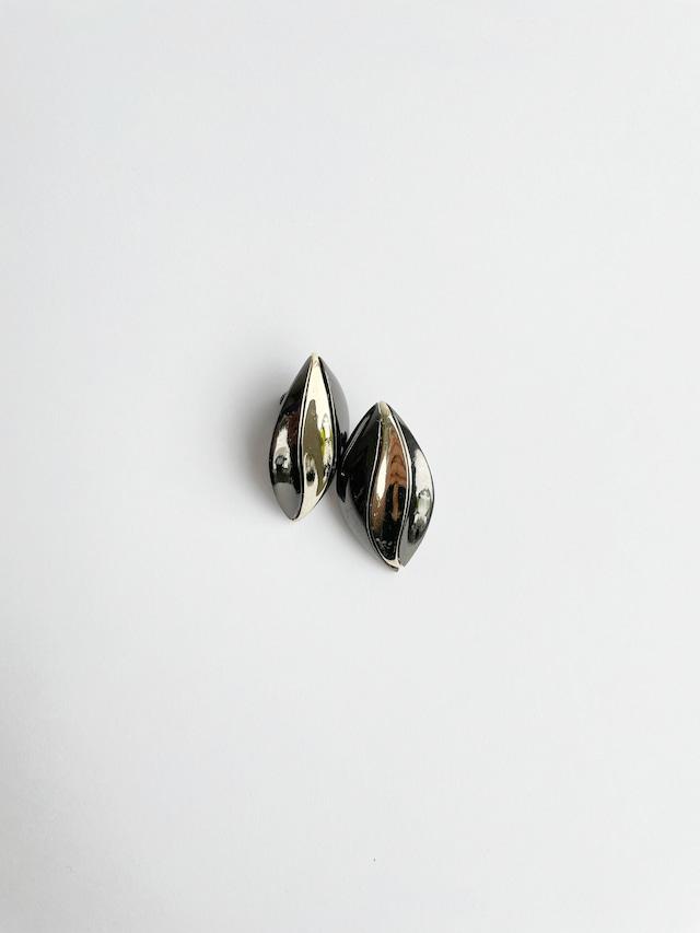 VINTAGE LEAF black silver earrings