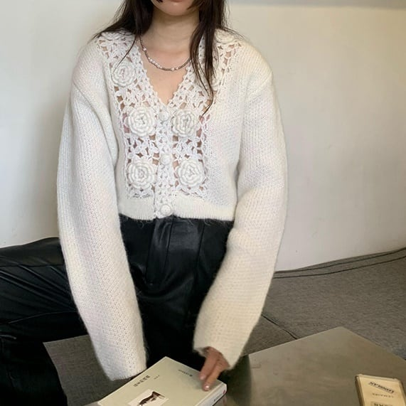 Crochet V-neck cardigan(クロシェットVネックカーディガン)b-478