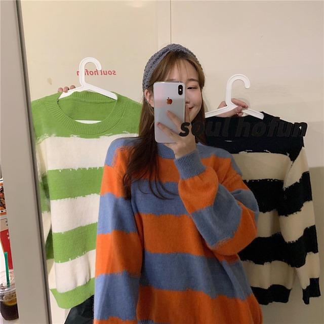 【トップス】韓国系キュート長袖プルオーバーストライプ柄配色セーター43010574